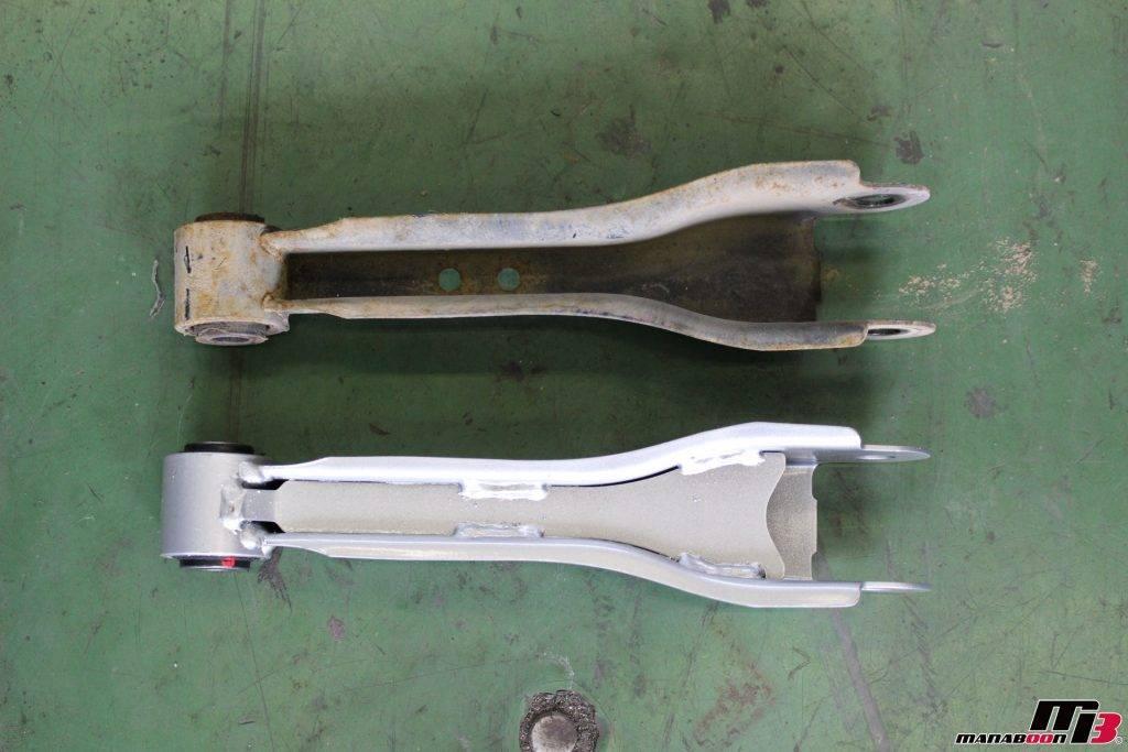 スカイラインGT-R(BNR32)右リアニスモフロントアッパーアーム新旧画像