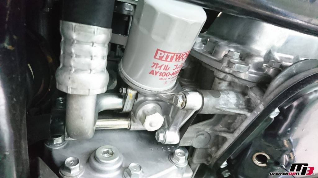 R35GT-R オイルフィルター交換画像