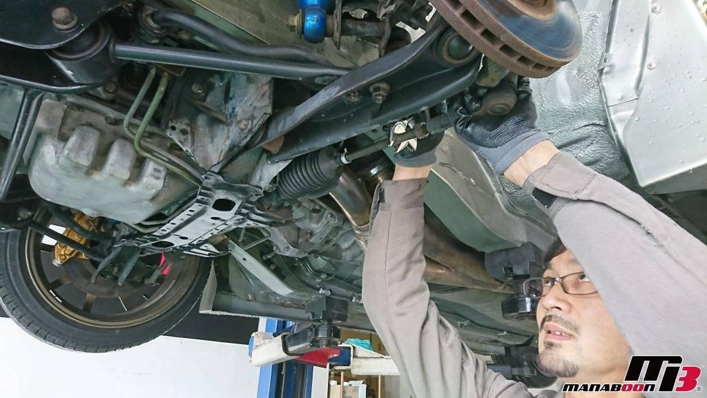 スカイライン(R32)ステアリングラックブーツ交換交換画像