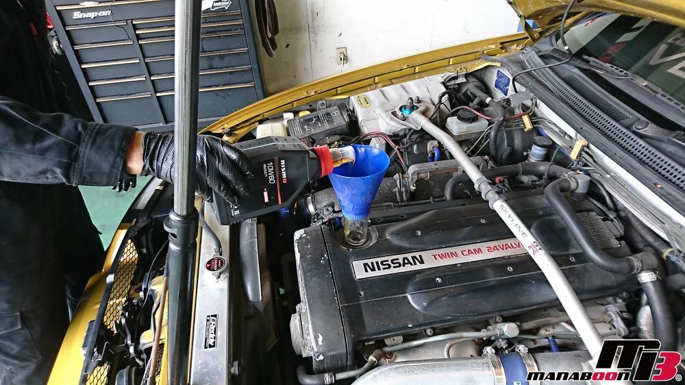スカイラインGT-R(BCNR33)エンジンオイル交換作業画像