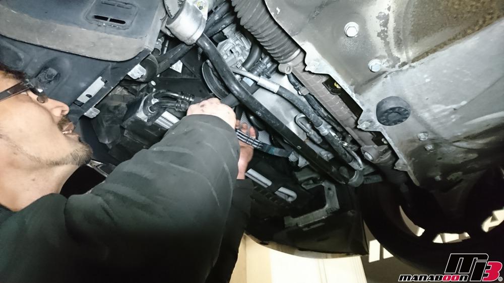 E46M3ベルト交換の作業画像