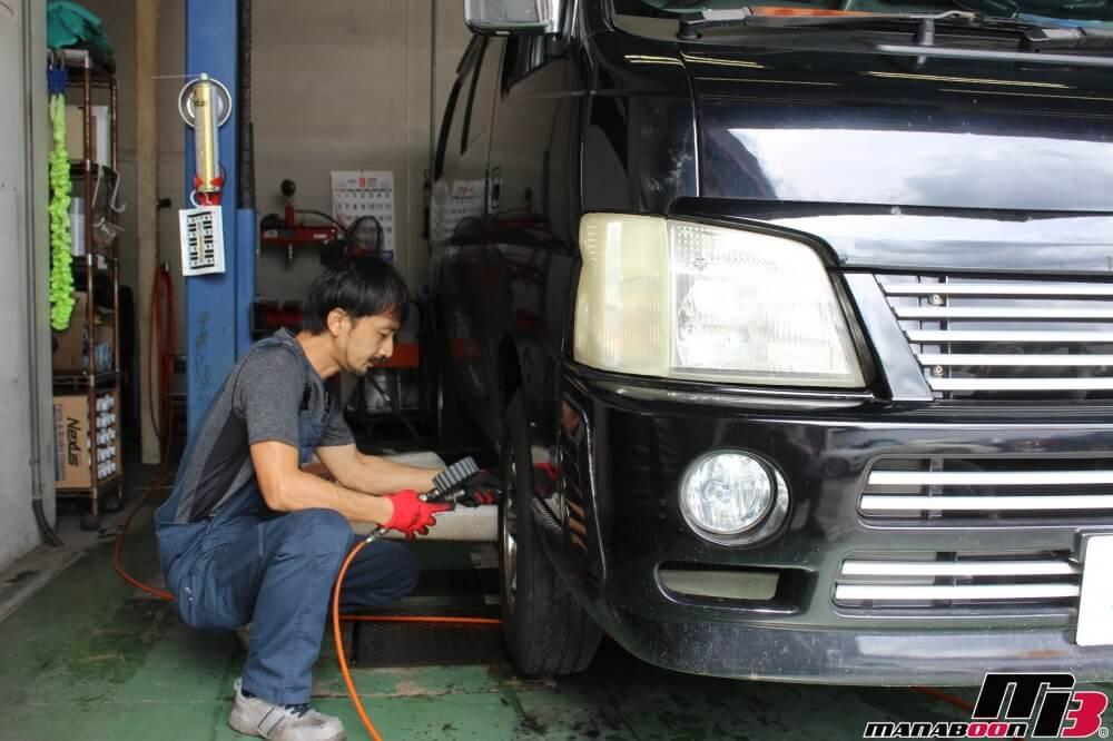 キャラバン車検の為の点検整備作業の画像