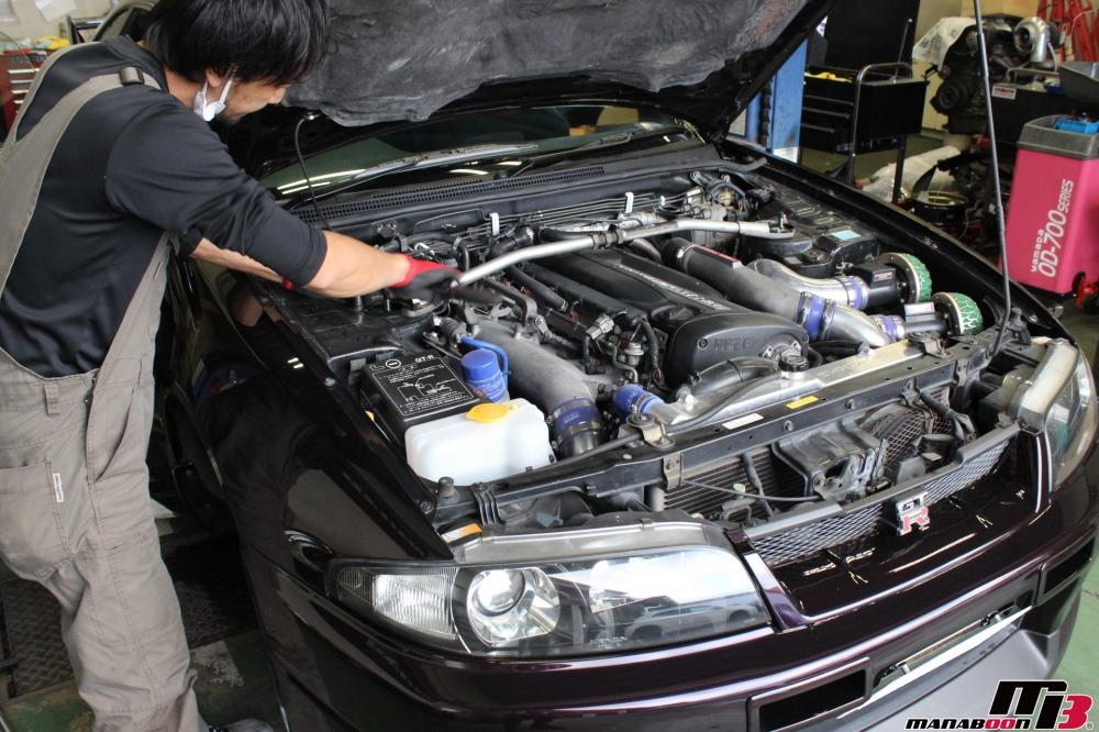 スカイラインGT-R車高調取り付け作業の画像