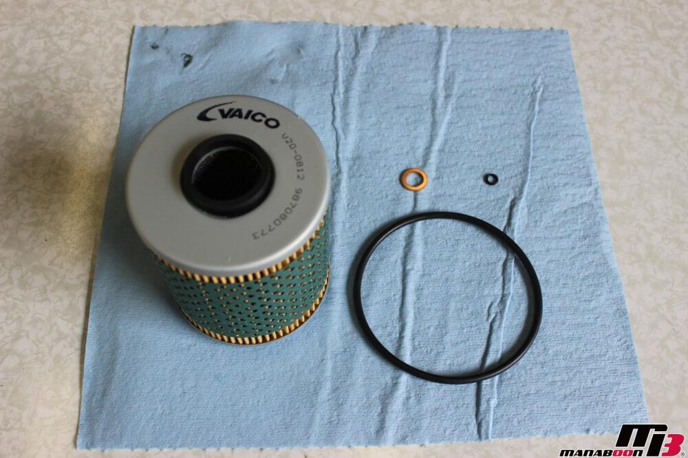 E46M3オイルフィルター交換作業の画像