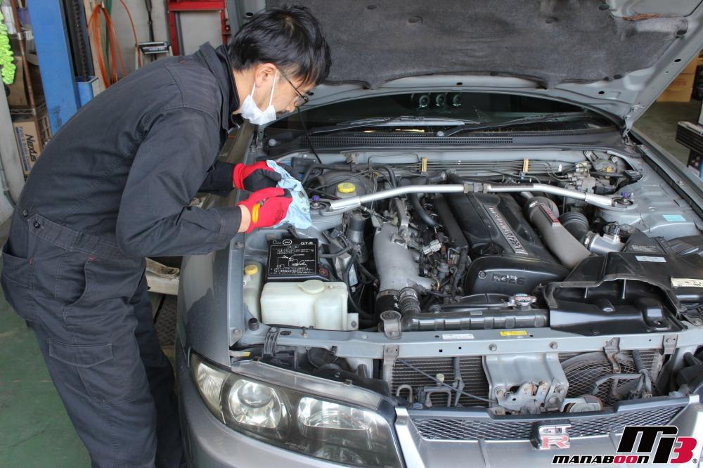 スカイラインGT-Rエンジンオイル交換