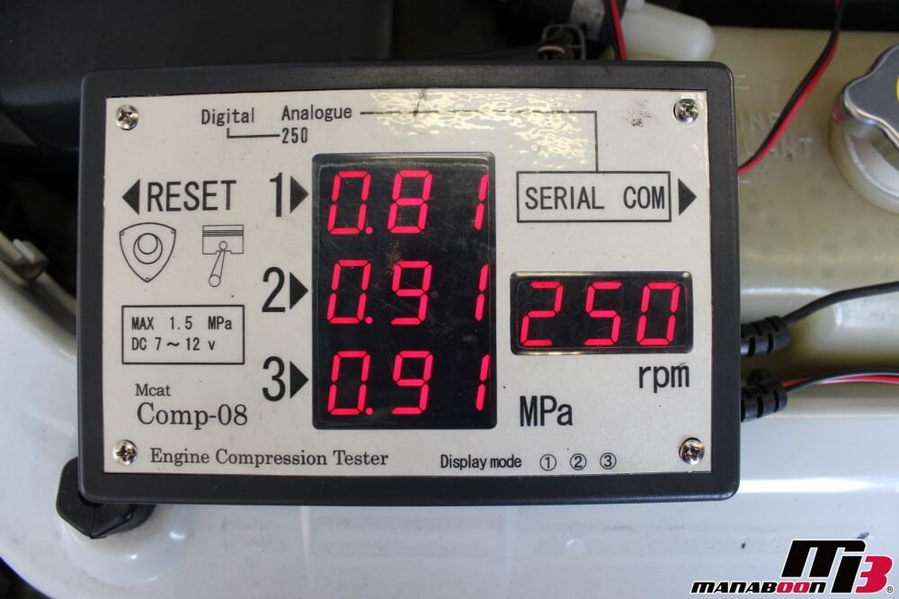 RX-8圧縮測定作業の画像