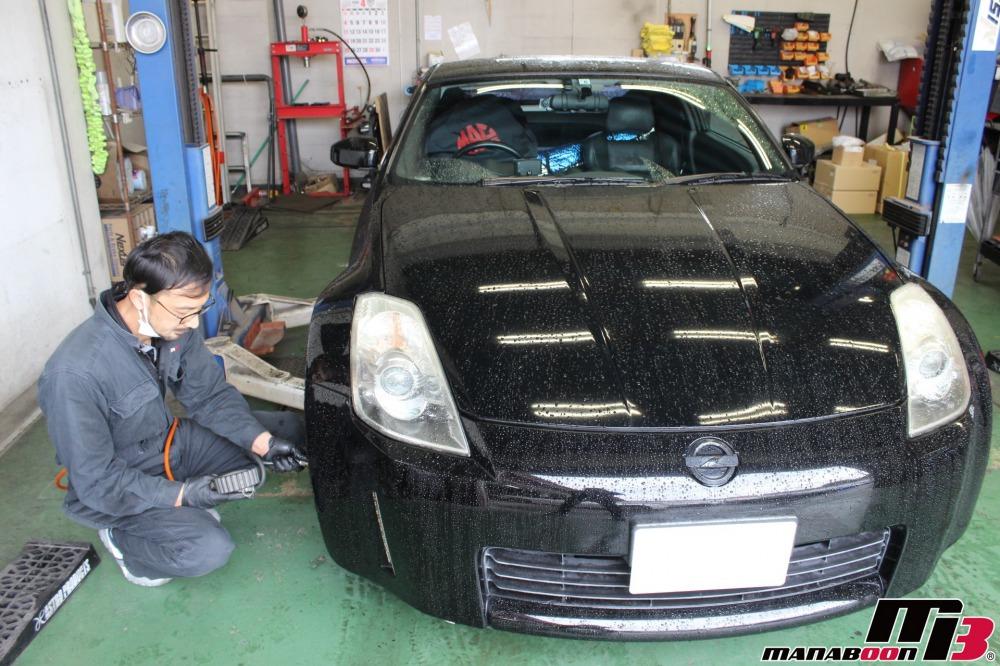 スポーツカーオイル交換作業の画像