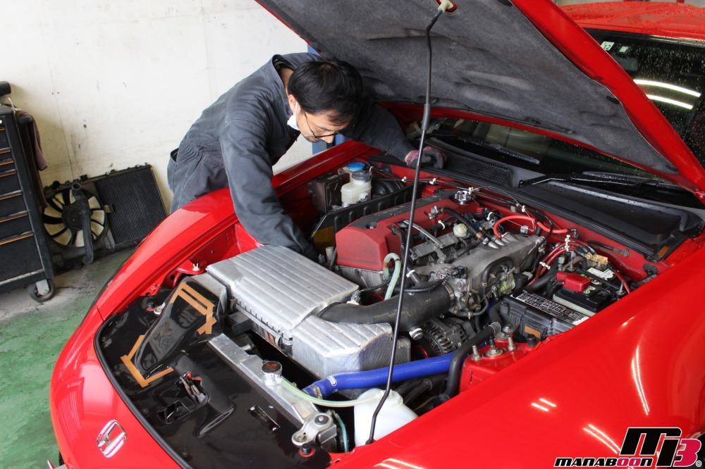 S2000エンジンオイル交換作業画像